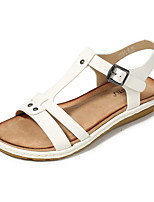 cheap -Women's Sandals Summer Flat Heel Open Toe Daily PU Almond / White / Black