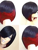 cheap -Synthetic Wig Natural Straight With Bangs Wig Medium Length Black / Rose Red Natural Black Black / Green Black / Purple Black / Red Synthetic Hair 10 inch Women's Creative Party Adorable Black