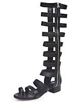 cheap -Women's Sandals Roman Shoes / Gladiator Sandals Summer Flat Heel Open Toe Daily PU Black / Beige