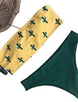 cheap -Women's Strapless Wireless Thong Bikini Swimwear Swimsuit - Geometric Print S M L White Yellow Blushing Pink