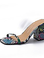 cheap -Women's Sandals Summer Block Heel Open Toe Casual Daily PU Black / Blue / Brown