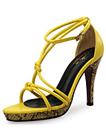 cheap -Women's Sandals Spring Fall Pumps Open Toe Party & Evening Office & Career Leather Yellow / Beige