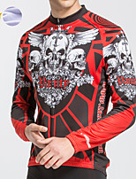 cheap -Men's Long Sleeve Cycling Jersey Winter Fleece Polyester Red Novelty Skull Funny Bike Jersey Top Mountain Bike MTB Road Bike Cycling Breathable Quick Dry Reflective Strips Sports Clothing Apparel