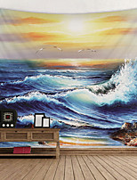 cheap -Oil Painting Seascape Digital Printed Tapestry Decor Wall Art Tablecloths Bedspread Picnic Blanket Beach Throw Tapestries Colorful Bedroom Hall Dorm Living Room Hanging