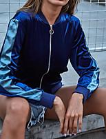 cheap -Women's T shirt Tee / T-shirt Blue Zipper Color Block Front Zipper Hoodie Spandex Cotton Color Block Cute Sport Athleisure T Shirt Long Sleeve Thermal Lightweight Soft Running Everyday Use Daily