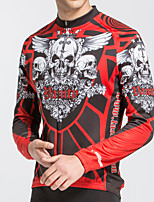 cheap -TASDAN Men's Long Sleeve Cycling Jersey Polyester Red Novelty Skull Funny Bike Jersey Top Mountain Bike MTB Road Bike Cycling Breathable Quick Dry Reflective Strips Sports Clothing Apparel / Stretchy