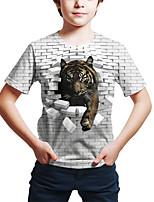 cheap -Kids Toddler Boys' Active Street chic Tiger Geometric 3D Tiger Print Short Sleeve Tee White