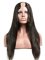 cheap -Remy Human Hair Wig Long Natural Straight U Part Natural Fashion For Black Women Capless Brazilian Hair Women's Natural Black #1B 8 inch 10 inch 12 inch