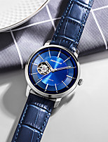 cheap -DEFORCE Men's Mechanical Watch Automatic self-winding Modern Style Stylish Casual Water Resistant / Waterproof Leather Black / Blue Analog - Black Blue / Stainless Steel