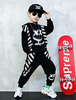 cheap -Kids Boys' Basic Striped Long Sleeve Regular Regular Clothing Set Black