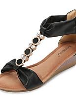 cheap -Women's Sandals Roman Shoes / Gladiator Sandals Summer Wedge Heel Open Toe Daily PU Almond / Black