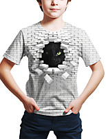 cheap -Kids Toddler Boys' Active Street chic Cat Geometric 3D Animal Print Short Sleeve Tee White