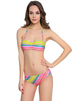 cheap -Women's Bikini Swimsuit Stripe Striped Strapless Modern Style Swimwear Bathing Suits Rainbow