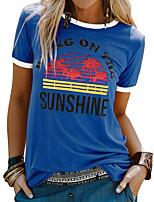 cheap -Women's T-shirt Letter Round Neck Tops Summer Blue Yellow Blushing Pink