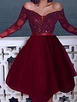 cheap -Back To School A-Line Sexy Sparkle Homecoming Cocktail Party Dress Off Shoulder Long Sleeve Short / Mini Tulle with Sequin 2020 Hoco Dress