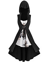 cheap -Plague Doctor Retro Vintage Steampunk Hoodie Women's Floppy Costume Wine / Black / Blushing Pink Vintage Cosplay Sleeveless Ankle Length Sheath / Column