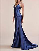 cheap -Mermaid / Trumpet Beautiful Back Sexy Engagement Formal Evening Dress V Neck Sleeveless Sweep / Brush Train Charmeuse with Sleek 2020