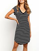 cheap -Women's T Shirt Dress Short Mini Dress - Short Sleeves Striped Summer Casual 2020 Black S M L XL XXL XXXL
