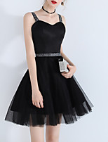 cheap -Back To School A-Line Little Black Dress Sexy Homecoming Cocktail Party Dress Sweetheart Neckline Sleeveless Short / Mini Tulle with Tier 2020 Hoco Dress