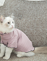 cheap -Cat Costume Shirt / T-Shirt Pajamas Stripes Casual / Sporty Cute Party Casual / Daily Dog Clothes Warm Blue Pink Costume Fabric XS S M L