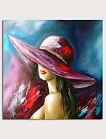 cheap -Hand Painted Canvas Oilpainting Abstract Woman with cap Home Decoration with Frame Painting Ready to Hang