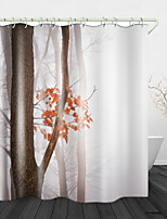 cheap -Woods In The Smog Digital Print Waterproof Fabric Shower Curtain For Bathroom Home Decor Covered Bathtub Curtains Liner Includes With Hooks