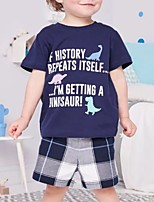 cheap -Kids Boys' Basic Print Short Sleeve Clothing Set Navy Blue
