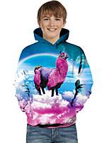 cheap -Kids Toddler Boys' Active Basic Fantastic Beasts Geometric Color Block Animal Print Long Sleeve Hoodie & Sweatshirt Blue