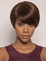 cheap -Remy Human Hair Wig Short Silky Straight Pixie Cut Brown Classic Easy to Carry Women Capless Brazilian Hair Burmese Hair Women's Medium Brown#4 8 inch