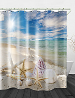 cheap -Sunny Beach Digital Print Waterproof Fabric Shower Curtain For Bathroom Home Decor Covered Bathtub Curtains Liner Includes With Hooks