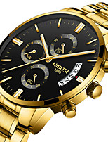 cheap -NIBOSI Men's Steel Band Watches Quartz Sporty Casual Water Resistant / Waterproof Stainless Steel Black / White / Brown Analog - Digital - Golden / Brown White+Blue Black+Gloden