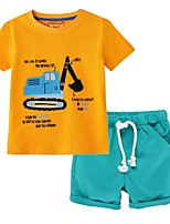 cheap -Kids Boys' Basic Print Short Sleeve Clothing Set Wine
