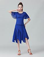 cheap -Ballroom Dance Skirts Crystals / Rhinestones Women's Performance Daily Wear Short Sleeve Milk Fiber Polyester