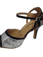 cheap -Women's Dance Shoes Latin Shoes Heel Sparkling Glitter Slim High Heel Customizable Silver / Black / Black / Gold / Black / Red