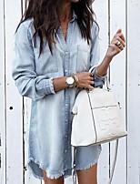 cheap -Women's Blouse Shirt Solid Colored Long Sleeve Shirt Collar Tops Basic Top Light Blue