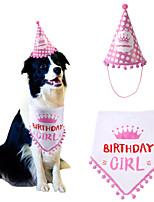 cheap -Dog Cat Bandanas & Hats Dog Bandana & Dog Hat Dog Bandana Cartoon Letter & Number Party Cute Christmas Party Dog Clothes Adjustable Red Pink Costume Fabric / Birthday / Birthday