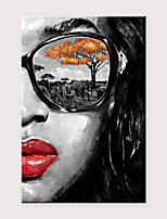 cheap -Canvas Wall Art Oil Painting Large Size Modern Girl With Glasses Suitable For Living Room Bedroom Home Office Mural Decoration