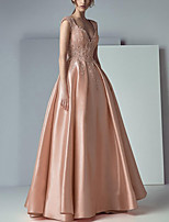 cheap -A-Line Beautiful Back Floral Engagement Prom Dress V Neck Sleeveless Floor Length Lace Satin with Pleats Appliques 2020