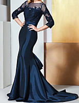 cheap -Mermaid / Trumpet Elegant Luxurious Engagement Formal Evening Dress Illusion Neck Half Sleeve Sweep / Brush Train Taffeta with Embroidery Appliques 2020