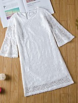 cheap -Mommy and Me Basic Cut Out White Solid Colored Lace 3/4 Length Sleeve Regular Above Knee Dress White