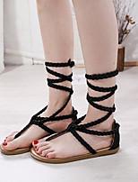 cheap -Women's Sandals Roman Shoes / Gladiator Sandals Summer Flat Heel Open Toe Daily PU Black / Khaki