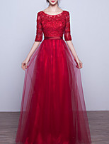 cheap -A-Line Elegant Cut Out Engagement Formal Evening Dress Jewel Neck Half Sleeve Floor Length Lace Tulle with Appliques 2020
