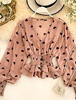 cheap -Women's Blouse Shirt Graphic Prints Long Sleeve V Neck Tops Basic Top White Black Blushing Pink