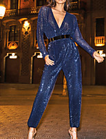 cheap -Jumpsuits Elegant Sparkle Wedding Guest Prom Dress V Neck Long Sleeve Ankle Length Sequined with Sash / Ribbon 2020