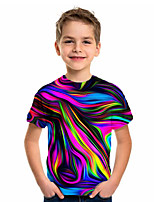 cheap -Kids Boys' Basic Holiday Geometric Print Short Sleeve Tee Rainbow