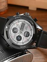 cheap -DIOUCE Men's Sport Watch Digital Sporty Casual Water Resistant / Waterproof Genuine Leather Black / Brown Analog - Digital - White Black Blue / Japanese