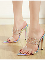 cheap -Women's Sandals Pumps Pointed Toe Daily Color Block PU Blue