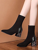 cheap -Women's Boots Cuban Heel Pointed Toe Casual Basic Daily Rhinestone Suede Mid-Calf Boots Walking Shoes Black