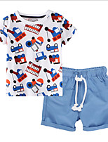 cheap -Kids Boys' Basic Cartoon Short Sleeve Clothing Set White