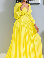 cheap -A-Line Minimalist Plus Size Wedding Guest Formal Evening Dress V Neck Long Sleeve Sweep / Brush Train Chiffon with Sash / Ribbon Pleats 2020